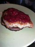 Pancake with strawberry jam