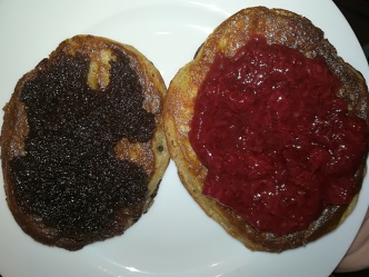 Chocolate nutspread and strawberry jam
